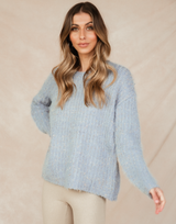 Zephyr Knit Jumper - Blue Sweater - Women's Top - Charcoal Clothing