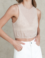 Sia Tank Top - Beige Ribbed Top - Women's Top - Charcoal Clothing