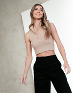 Sofia Tank Top - Brown Ribbed Knit Crop - Women's Top - Charcoal Clothing