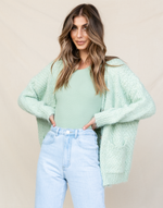 Gabriella Cardigan (Sage) - Fluffy Sage Cardigan - Women's Cardigan - Charcoal Clothing