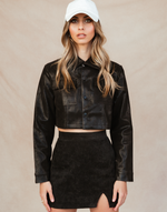 Nastalgic Cropped Jacket - Black Snakeskin-Charcoal Clothing-Women's-Jacket