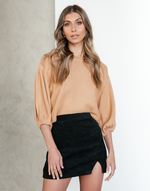 Rae Jumper - Camel Crop Top - Women's Top - Charcoal Clothing