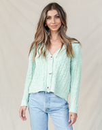 Bobbi Knit Top - Green Knit Cardigan - Women's Top - Charcoal Clothing