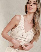 Alanta Knit Top - Neutral Beige Crop Tank - Women's Top - Charcoal Clothing