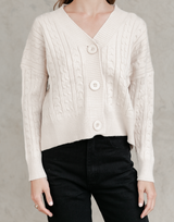 Quincy Knit Jumper - Neutral Beige Cardigan - Women's Top - Charcoal Clothing
