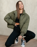 Louisiana Puffer Jacket (Khaki) - Khaki Green Long Sleeve Jacket - Women's Jacket - Charcoal Clothing