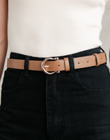 Adina Belt - Brown Textured Belt - Women's Belt - Charcoal Clothing