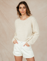 Filippa Knit Jumper - Cream Long Sleeve Sweater - Women's Top - Charcoal Clothing