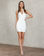 Zahara Mini Dress - White Ribbed High Neck Mini Dress - Women's Dress - Charcoal Clothing