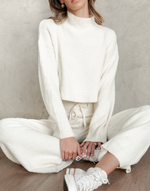 Lilly Set - Cream Knit Jumper and Pants - Women's Set - Charcoal Clothing