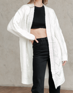 Casey Cardigan - White Knit Cardigan - Women's Cardigan - Charcoal Clothing