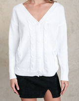 Talulla Knit Top - White Cardigan-Charcoal Clothing-Women's-Top