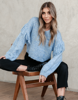 Hadlee Knit Jumper - Blue Knit Jumper - Women's Top - Charcoal Clothing