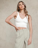 Hayley Cami Top - Basic White Crop Ribbed Knit Top - Women's Top - Charcoal Clothing
