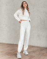 Jamie Pants - White Knit High Waisted Bottoms - Women's Pants - Charcoal Clothing