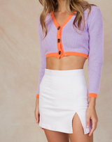 Adora Knit Top (Purple) - Purple and Orange Multicoloured Crop - Women's Top - Charcoal Clothing