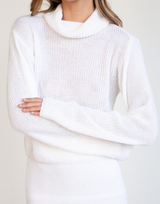 Talk Is Cheap Knit Jumper - White Sweater-Charcoal Clothing-Women's-Top