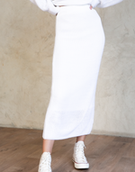 Talk Is Cheap Knit Midi Skirt (White)
