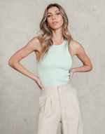 Cassidy Tank Top - Sage Green Ribbed Singlet - Women's Top - Charcoal Clothing
