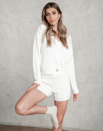 Fia Knit Top - White Cardigan - Women's Top - Charcoal Clothing