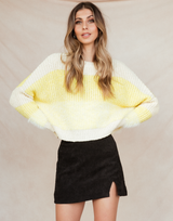 Starry Eyed Knit Jumper - Yellow and Nude Fluffy Sweater - Women's Top - Charcoal Clothing