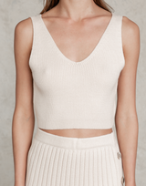 Drew Knit Top - Beige Ribbed Crop - Women's Top - Charcoal Clothing