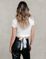 Lorna Crop Top - White Ribbed Crop Top - Women's Top - Charcoal Clothing