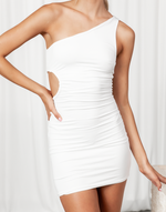 Farrah Mini Dress - White One Shoulder Cut Out Mini Dress - Women's Dress - Charcoal Clothing