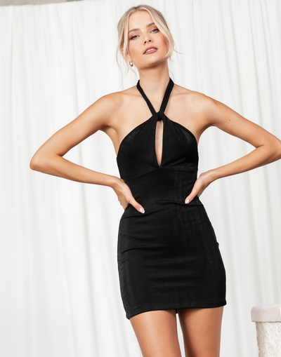 Euphoria Mini Dress - Black Shimmer Halterneck Mini Dress - Women's Dress - Charcoal Clothing