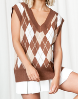 Chester Vest - Brown and Beige Printed Vest Top - Women's Top - Charcoal Clothing