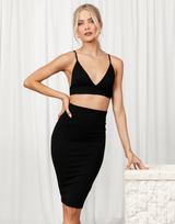 Called It Crop Top - Basic Black Ribbed Bralette Crop Top - Women's Top - Charcoal Clothing