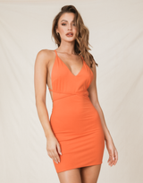 Darcey Mini Dress - Orange Bodycon Mini Dress - Women's Dress - Charcoal Clothing