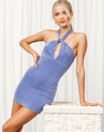 Euphoria Mini Dress - Blue Shimmer Halterneck Mini Dress - Women's Dress - Charcoal Clothing
