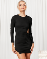 Alizah Mini Dress - Black Ribbed Cut Out Side Mini Dress - Women's Dress - Charcoal Clothing