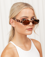 Clueless Sunglasses (Tortoise) - Retro Oval Shaped Sunglasses - Women's Sunglasses - Charcoal Clothing