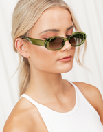 Clueless Sunglasses (Green) - Retro Oval Shaped Sunglasses - Women's Sunglasses - Charcoal Clothing