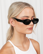 Clueless Sunglasses (Black) - Retro Oval Shaped Sunglasses - Women's Sunglasses - Charcoal Clothing