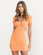 Fifer Mini Dress - Orange Short Sleeve Mini Dress - Women's Dress - Charcoal Clothing