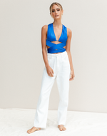 Elody Crop Top (Blue) - Blue Strappy Crop Top - Women's Top - Charcoal Clothing