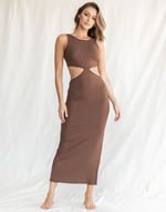 Ayda Midi Dress (Brown) - Brown Ribbed Midi Dress with Split - Women's Dress - Charcoal Clothing