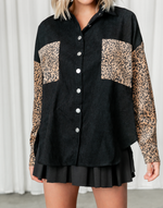 In The Wild Top - Black Corduroy Cheetah Print Long Sleeve Top - Women's Top - Charcoal Clothing
