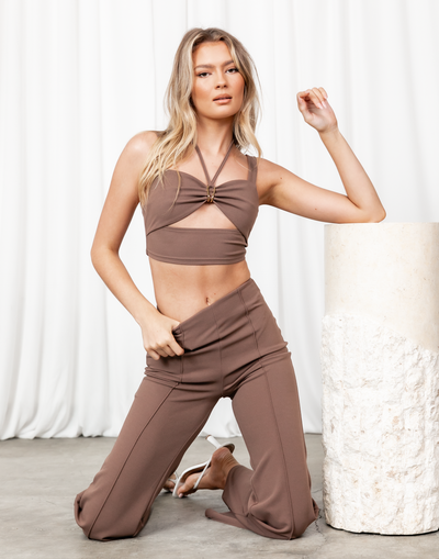 Baxter Top (Brown) - Cut Out V-Neckline Crop Top - Women's Top - Charcoal Clothing