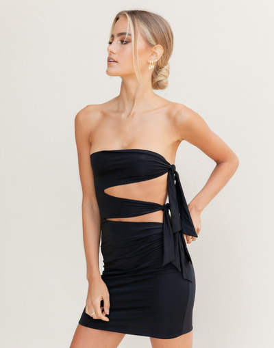 The Hannah Mini Dress - Lioness Black Strapless Mini Dress - Women's Dress - Charcoal Clothing