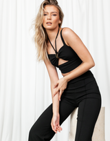 Baxter Top (Black) - Cut Out V-Neckline Crop Top - Women's Top - Charcoal Clothing