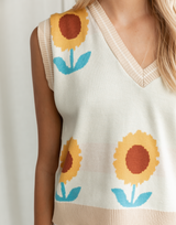 Loving is Easy Vest - Cream Floral V-Neckline Vest - Women's Top - Charcoal Clothing