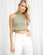 Risha Crop Top (Green) - Halter Crop Top - Women's Top - Charcoal Clothing
