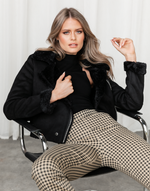 Bold Move Jacket - Faux Fur Lining Black Jacket - Women's Top - Charcoal Clothing