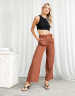 Jessi Pants - Brown High Waisted Pants - Women's Bottoms - Charcoal Clothing