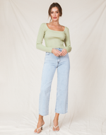Hariette Crop Top (Sage) - Green Cropped Knit Top - Women's Top - Charcoal Clothing