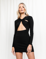 Indie Mini Dress (Black) - Black Knit Cut Out Mini Dress - Women's Dress - Charcoal Clothing